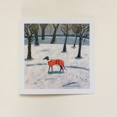 Card size 150mm x 150mm Design created from one of my original acrylic paintings Inspired by a snowy walk with my whippet! White envelope and cello...