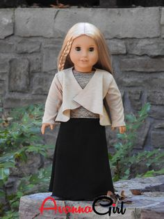 """Handmade AG Doll Clothes 18"""" Dolls - Draped Cascading Cardigan, Maxi Skirt, Boatneck Top Our Avanna Girl is so excited to show you her outfit she made for Thanksgiving at her YaYa's house! The cascadi"""