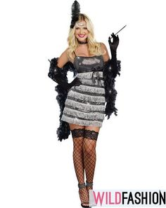 Women's Sexy Flapper Costume - Speak Easy Vixen Large Dance your way back to the roaring Includes: Silver fringed flapper dress with shimmer metallic . Girl Costumes, Adult Costumes, Costumes For Women, Costume Ideas, 1920 Costumes, Pokemon Costumes, Costume Craze, Morris Costumes, Cosplay Costumes