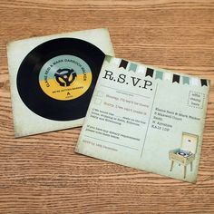 vinyl record music themed wedding rsvp by magik moments | notonthehighstreet.com