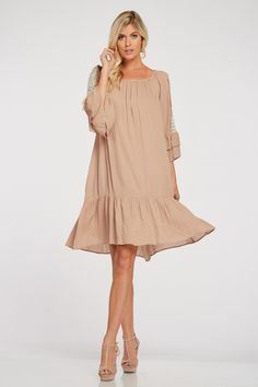 YOUNG CONTEMPORARY, DOUBLE BELL SLEEVE, RUFFLE HEM DRESS, LACE DETAIL, MID LENGTH, LOOSE FIT, TEXTURED.