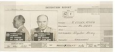Kesselring id photos, facing forward and in profile/Death and burial ground. Kesselring was released due to ill health in October of 1952 and died eight years later on 16-07-1960, age 74 of a heart attack,