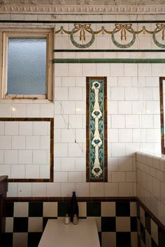 Edwardian tiles with wreat and bow detail inside beautiful pie and mash shop in Spitalfields. Azulejos Art Nouveau, Art Nouveau Tiles, Antique Tiles, Vintage Tile, Pie And Mash, Art Nouveau Interior, Art Deco Bathroom, Bathroom Interior, House Tiles