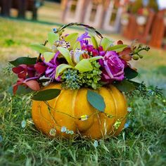 Have your flower girl carry a pumpkin filled with flowers down the aisle