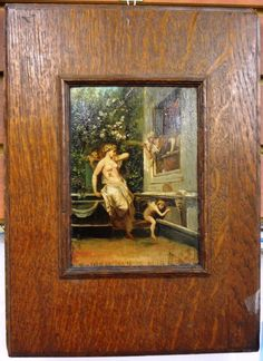 "Classical painting of Nymph and Putti by ""Picou"" Price $1,200.00 Size: 10″ x 14″ http://www.theguildshop.org/nymph-putti-picou"