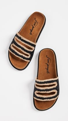 Free People Crete Footbed Slides Mules Shoes ecfd4848cba