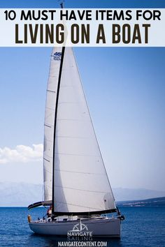 With limited energy and limited space, living onboard a small sailboat is kind of like camping. However, these 10 essential items can be used on any boat and will make your life onboard more sustainable, comfortable, and enjoyable. #sailinglife #sailboat #boatlife | living on a boat hacks | essentials for living on a boat | things you need on your boat | things you need on your first boat | things you need on a boat | boat must haves | sailboat must haves Sailing Books, Us Sailing, Sailboat Living, Living On A Boat, Boating Tips, Small Sailboats, Sailing Adventures, Creature Comforts, Must Have Items