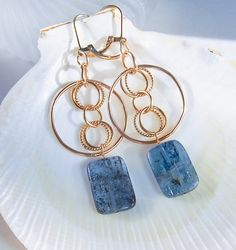 Gold Circle Earrings . Light Blue Gemstones . by MalibuJewel, $85.00
