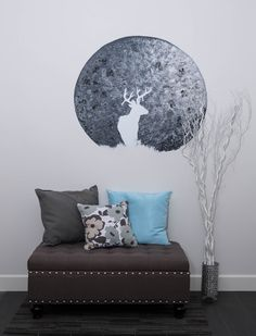 DIY Moon Mural One thing we really like about this mural is that it is a silhouette. Which makes it simple, ideal for a beginner to do. Picture Room Decor, Painted Brick Walls, Wall Stencil Patterns, Murals For Kids, Relaxing Colors, Wall Decor Design, Favorite Paint Colors, Diy Wall Art, Diy Painting