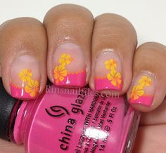 Beach Nails / very pretty, floral French Tip Mani - direct site is closed I believe Cruise Nails, Vacation Nails, Get Nails, How To Do Nails, Nail Polish Tattoo, Beach Nails, Hawaii Nails, Toe Nail Designs, Art Designs