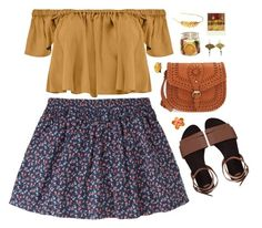 """""""Hello"""" by skydancer18 ❤ liked on Polyvore featuring Jack Wills, Boohoo, ASOS, Sole Society, Laurel Wreath Collection, Polaroid, gold, yellow, skirt and Flowers"""