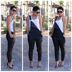 Leather Overalls & Shawl Cardigan |Mimi G Style: DIY Fashion Sewing