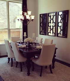 Large Decorative Mirror next to Dining Room Table