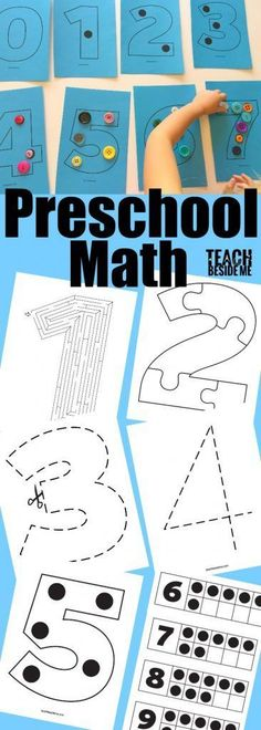 This number activity pack has 56 pages of number activities for kids from number recognition to counting, coloring and cutting activities. It is a fun pack to use when teaching numbers to little ones! Preschool Lessons, Preschool Classroom, Preschool Learning, Kindergarten Math, Learning Activities, Preschool Activities, Teaching Math, Teaching Numbers, Math Numbers