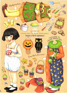 Artist Mary Englebreit -- GRACIE enjoys Autumn which is full of celebrations -- from Englebreit's magazine Home Companion.