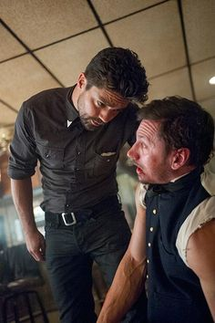 Jesse Custer (Dominic Cooper) and Donnie Schenck (Derek Wilson) in Episode 1 of #Preacher Photo by Lewis Jacobs/Sony Pictures Television/AMC