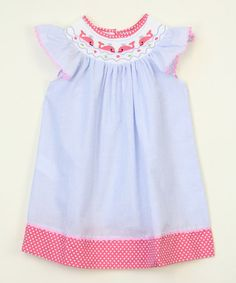 Another great find on #zulily! Blue Whale Smocked Angel-Sleeve Dress - Infant, Toddler & Girls #zulilyfinds