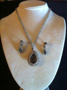 VINTAGE HOBE Smoke and Clear Rhinestone necklace earring set | eBay