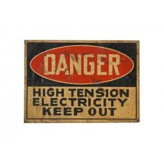 "c 1930's american antique industrial single sides die cut enameled steel factory electrical substation ""keep out"" danger sign, ready made sign co, NY city, NY"