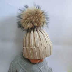2016 Fashion Children Winter Raccoon Fur Hats 100% Real 15cm Fur pompom Beanies Cap Natural Fur Hat For Kids Children