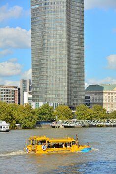 London, Duck Tours, Yellow Amphibious Bus On The River Thames