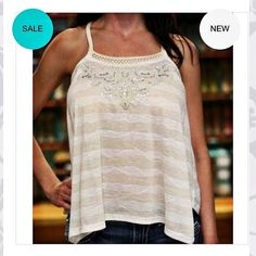 Miss Me bead sequin beige silver fringe tank top OPEN TO OFFERS! adorable Miss Me baby doll style tank top with the cutest details! Braided rope straps, woven fringe section in the back, and on the front there is a gorgeous crochet brocade like pattern with beads and sequins. White and cream or beige striped and color block. It's hard to see in the pics but there are actually metallic silver foil thin stripes as well. Too cute! Brand new with tags Miss Me Tops Tank Tops