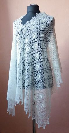 Hand knitted natural white Haapsalu shawl made with by ByRees