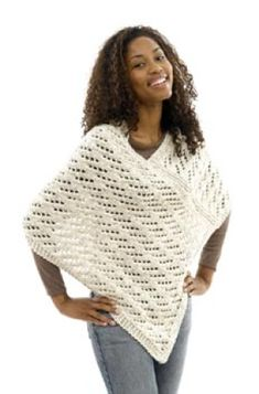 Knit~ Lace Poncho- Free Pattern - Love this poncho but want to try crochet instead. Poncho Lace Poncho pattern by Lion Brand Yarn Poncho Knitting Patterns, Crochet Poncho Patterns, Knitted Poncho, Knitted Shawls, Crochet Scarves, Crochet Shawl, Crochet Clothes, Knit Lace, Shawl Patterns