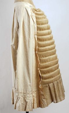 Bustle ca. 1873 via The Costume Institute of The Metropolitan Museum of Art    Not all bustles were made with wires.  This one was made with horsehair channels stuffed with cotton.