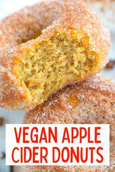 These yummy moist vegan apple cider donuts are easy to make and full of cinnamon, nutmeg and cloves, then rolled in cinnamon sugar! #appleciderdonuts #vegandesserts #vegandonuts #veganappleciderdonuts Healthy Vegan Desserts, Vegan Dessert Recipes, Delicious Vegan Recipes, Raw Food Recipes, Fall Recipes, Sweet Recipes, Vegan Coffee Cakes, Vegan Cinnamon Rolls, Vegan Peanut Butter Cookies
