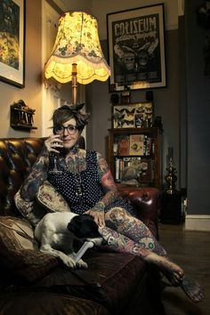 Photo of Tiny Miss Becca for Things and Ink magazine. Also featuring Eddie Dog in his living room