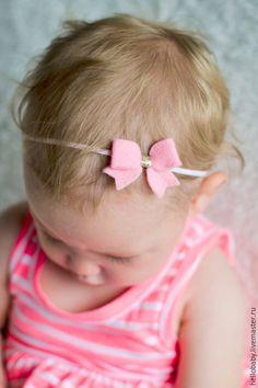 """Купить Аксессуары для детей """"Праздничный бантик"""" - бледно-розовый, повязка на голову, повязка для волос"""