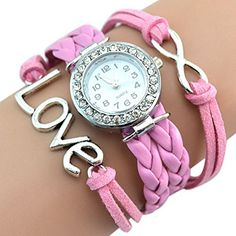 Infinity Love Charm Bracelet Bangle Watch Watch Pink * You can find out more details at the link of the image.