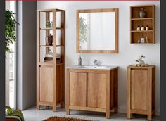 Clean bathroom furniture design + wood!