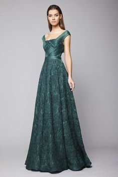 Emerald A-line Gazar Cloqué off the shoulder dress with crisscross ribbon band wrap bust.