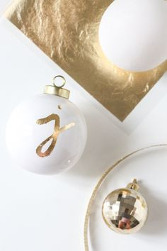 diy gold leaf monogrammed ornaments