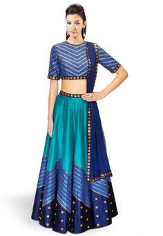 Turquoise Blue Art Dupion Silk Readymade Lehenga Choli with Dupatta