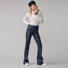 Tommy Hilfiger GIGI HADID - Flared Jeans - blue for with free delivery at Zalando Gigi Hadid Looks, Style Gigi Hadid, Gigi Hadid Outfits, Hilfiger Denim, Gigi Hadid Tommy Hilfiger, Tommy Hilfiger Outfit, Tommy Hilfiger Jeans, Moda Ulzzang, Estilo Navy