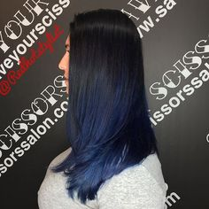 Black to deep blue color melt I used @joico and @schwarzkopfusa for roots and mid and hand painted some deep blue