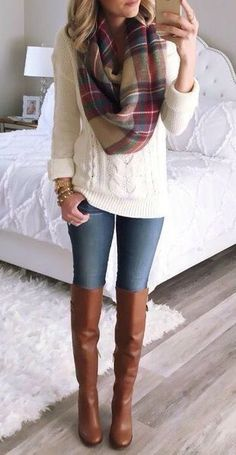 For a Fix box in the winter...chunky sweater that's not too oversized, big scarf, nice boots