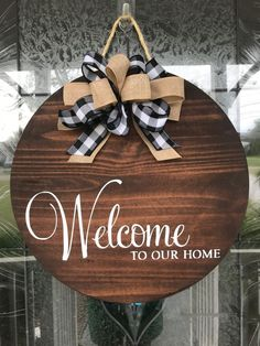 homedecor handmade This welcome to our home sign makes a great addition to any homes front door. It can be used as a door hanger, home accent, or room decor. Makes a great gift for men and women and adds great appeal for your front door, Wooden Door Signs, Wooden Door Hangers, Diy Wood Signs, Wooden Doors, Wood Front Doors, Front Door Decor, Welcome Signs Front Door, House Front Door, Home Signs