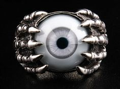Tantalize the eyes of passer-bye with this Dragon Tattoo Gothic Ring. Manually-crafted and polished silver dragon claw makes this Gothic ring irresistible Silver Jewelry Box, Eye Jewelry, Jewelry Rings, Jewelery, Fashion Jewelry, Silver Earrings, Gothic Rings, Gothic Jewelry, Gothic Engagement Ring
