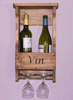 Wine bottle rack for 3 bottles and 2 glasses made out of for Glasses made out of bottles