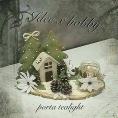 Idee per Mako Felt Christmas Decorations, Felt Christmas Ornaments, Christmas Centerpieces, Handmade Christmas, Christmas Projects, Holiday Crafts, Winter Christmas, Christmas Holidays, Art Floral Noel