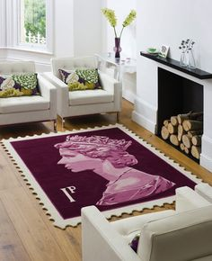 The Terrier and Lobster: Queen Elizabeth II Stamp Rugs