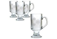 Snowflake Footed Coffee Mugs -- great for curling up on the couch with your favorite coffee or hot cocoa.