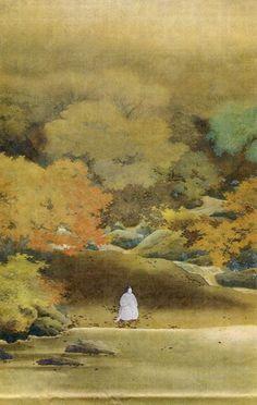 『菊慈童』- 菱田春草 Hishida Shunsō -pintor japonês que desenvolveu em fins do século XIX um estilo novo de pintar as  paisagens japonesas: o moro-tai ou estilo vago onde usa muitas graduações de cores. Foi muito criticado, mas suas paisagens não deixam de ser muito lindas e absolutamente diferentes daquelas já representadas antes disso. É muito conhecido também por pintar gatos.