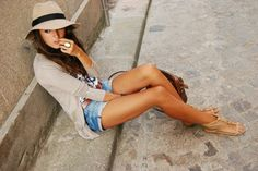 shorts, cardigan and big floppy hat