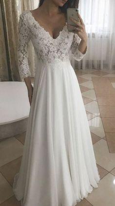 Elegant A Line V Neck Long Sleeves White Lace Long Wedding Dresses Western Wedding Dresses, Long Wedding Dresses, Wedding Gowns, Wedding Ceremony, V Neck Wedding Dress, Boho Wedding Dress, Bridal Outfits, Bridal Dresses, Dresses Dresses
