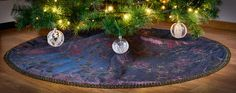 Christmas Holiday Tree Skirt Custom Made by KakaduDesign on Etsy Holiday Tree, Christmas Holidays, Christmas Tree, Holiday Decor, Sewing Studio, Covered Buttons, Custom Made, Skirts, Fabric